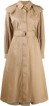 draped hooded trench coat - Neutrals