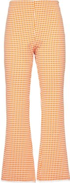 checked flared trousers - ORANGE