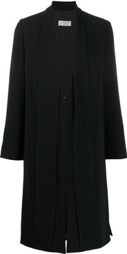 mid-length layered coat - Black