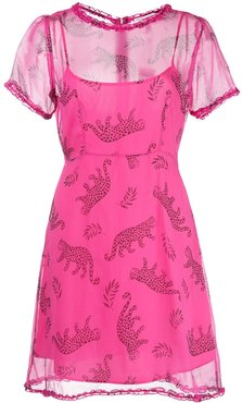 Natalie leopard print mini dress - PINK