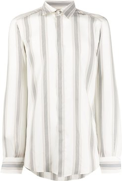 striped print silk shirt - Neutrals