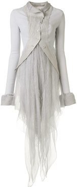 tulle-panelled coat - Grey