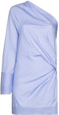 one-shoulder cotton mini dress - Blue