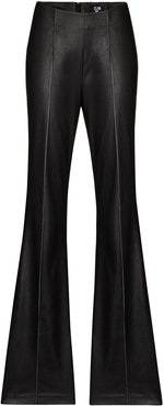 faux-leather slim bootcut trousers - Black