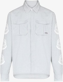 logo print striped cotton shirt