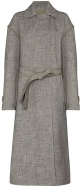 belted-waist long trench coat - Grey