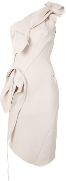 draped one-shoulder midi dress - NEUTRALS