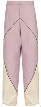 diamond-panelled wide-leg trousers - PURPLE