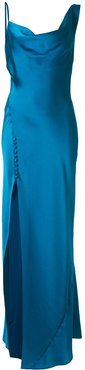 draped neck gown - Blue