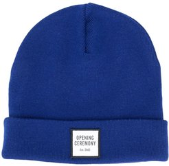 logo patch knitted beanie - Blue