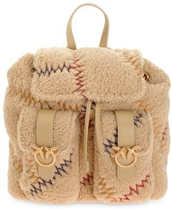 embroidered backpack - Neutrals