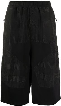 long panelled bermuda shorts - Black