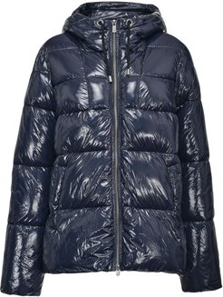 high-shine quilted hooded coat - Blue