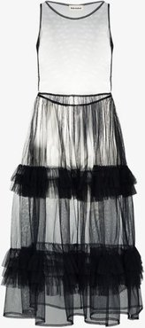 Nellie Frill Gathered Tulle Midi Dress