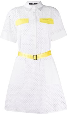 broderie anglaise shirt dress - White