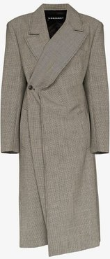 pop-up lapel checked wool coat