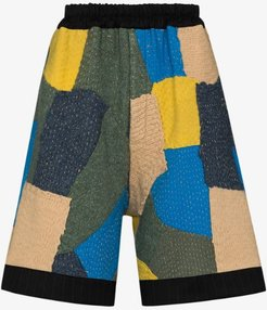 Silas knitted patchwork shorts