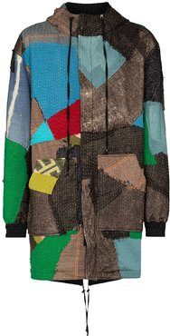 hooded patchwork-style parka coat - Brown