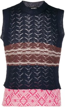 striped sweater vest - Blue