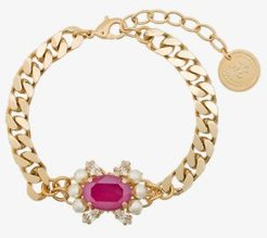 gold-plated crystal and pearl bracelet