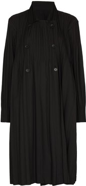double-breasted pleated coat - Black