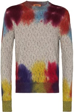 tie-dye cable-knit jumper - Grey