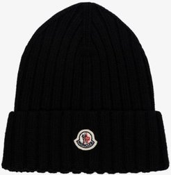 black virgin wool beanie hat