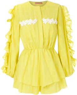 Litchy ruffled jumpsuit - Yellow