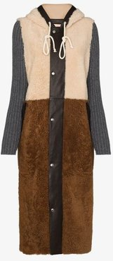 panelled shearling coat