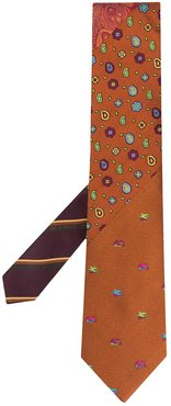patterned silk tie - Brown