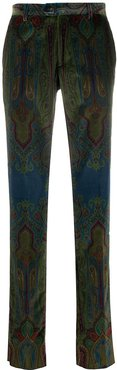 paisley print suit trousers - Green