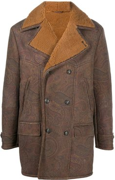 shearling double-breasted coat - Brown