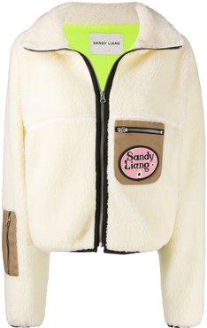 contrast pockets shearling jacket - Neutrals