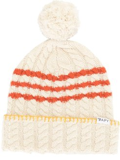 cable-knit beanie - White