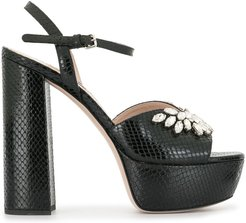 crystal-embellished platform sandals - Black