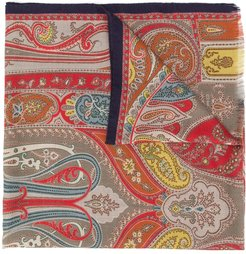 paisley embroidered cashmere scarf - Neutrals