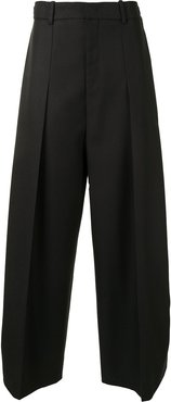 pleated wide-leg trousers - Black