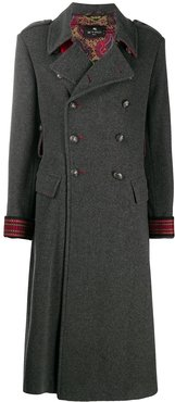 double breasted long coat - Grey