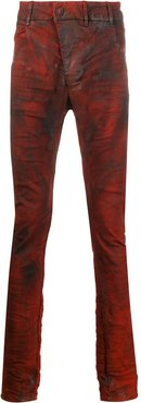 coated skinny trousers - Red