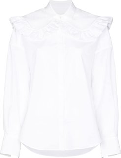 ruffled cotton shirt - White