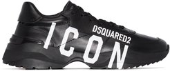 leather Icon print sneakers - Black