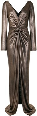 metallic ruched fitted dress - GOLD
