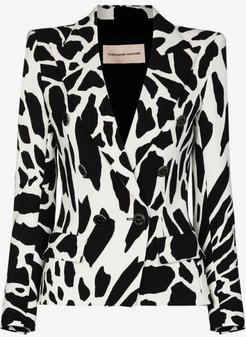 animal print double-breasted blazer