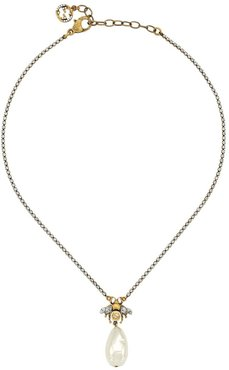 bee drop pearl charm necklace - SILVER