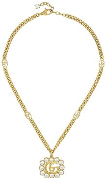 pearl-embellished Double G charm necklace - GOLD