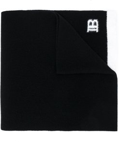 logo embroidered scarf - Black