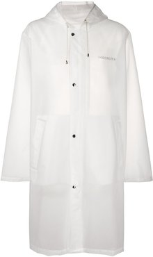 transparent hooded raincoat - White