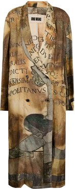 graphic print trench coat - Brown