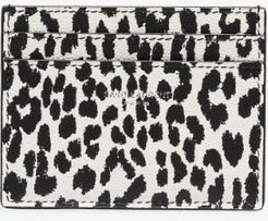 black and white animal print leather card holder