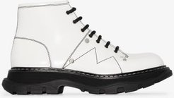 white Tread lace-up leather boots